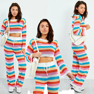 New-Womens-Crochet-Top-and-Bottom-set-Multicolour-Co-Ord-set-8-14