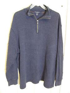 Daniel Cremieux Classics Sz XL Denim Blue 100% Cotton  LS 1/4 Zip w/Leather Pull