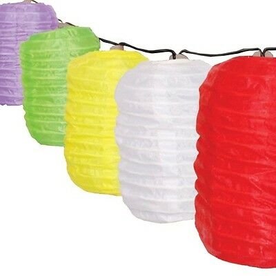 Set of 10 Solar String Coloured Garden LED Hanging Lantern Lights
