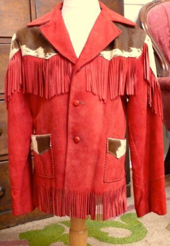 1940 Childs Red Kidskin Suede & Cowhide Fringed Ja