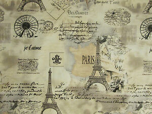 Vintage Paris Eiffel Tower Map Scribe Tans Cotton Fabric Fq