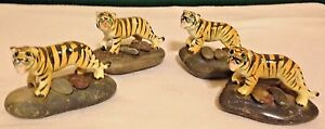 Tiger Miniature Bone China Figurines Set of 4 Mounted on Stone from Japan
