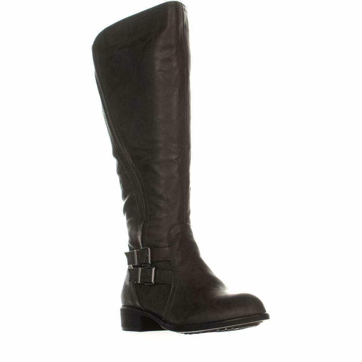 Style & Co. SC35 Milah Wide Calf Zip-Up Riding Boots,, Charcoal, Size 5.0 US / 3