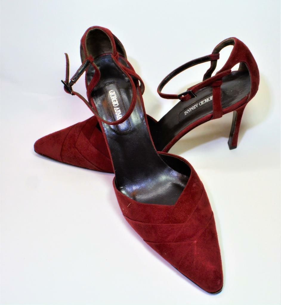 Giorgio Armani  damen 8.5B EUR 39 maroon pointed toe ankle strap 4  heels