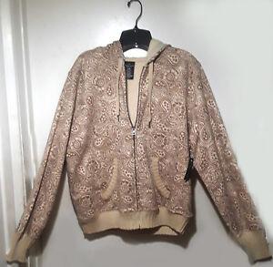Beige Paisley print Organic cotton Fleece Lined hoodie Women plus size XL 16 18