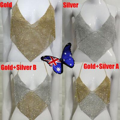 Women Metal Crop Top Halter Plunge V Backless Sequins Party Club Vest Top BO