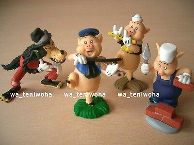 New Full Set! -Three Little Pigs- So Tiny! 4 Figures Disney Choco Egg Miniature