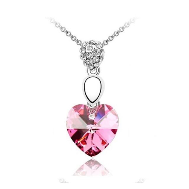Womens Light Pink Crystal Heart Necklace Necklace Pendant Jewellery Gift UK