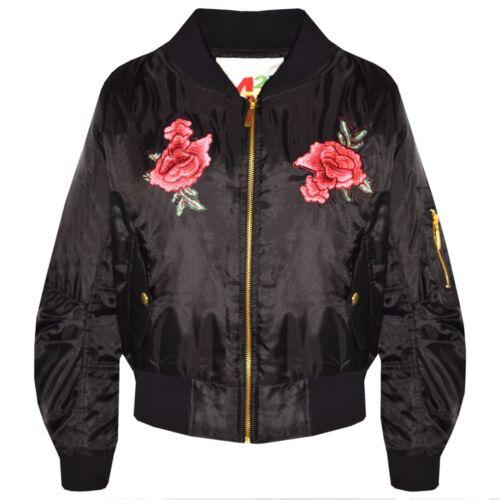 Girls Jacket Kids Roses Embroidered Bomber Padded Zip Up Biker Jackets MA1 Coats