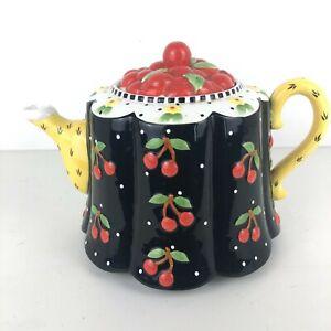 Mary-Engelbreit-CHERRIES-Teapot-Michel-2001-Large-Black-Yellow-Red-Vintage