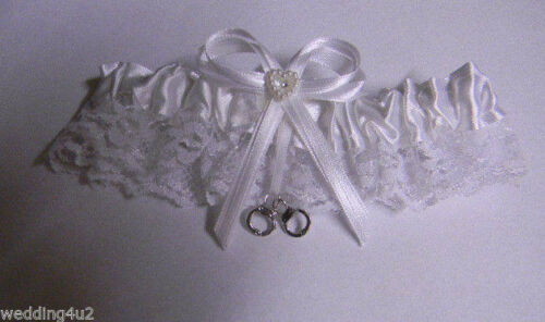 Wedding Party Ceremony ~Handcuffs Charm~ Police Cop Correction Garter White