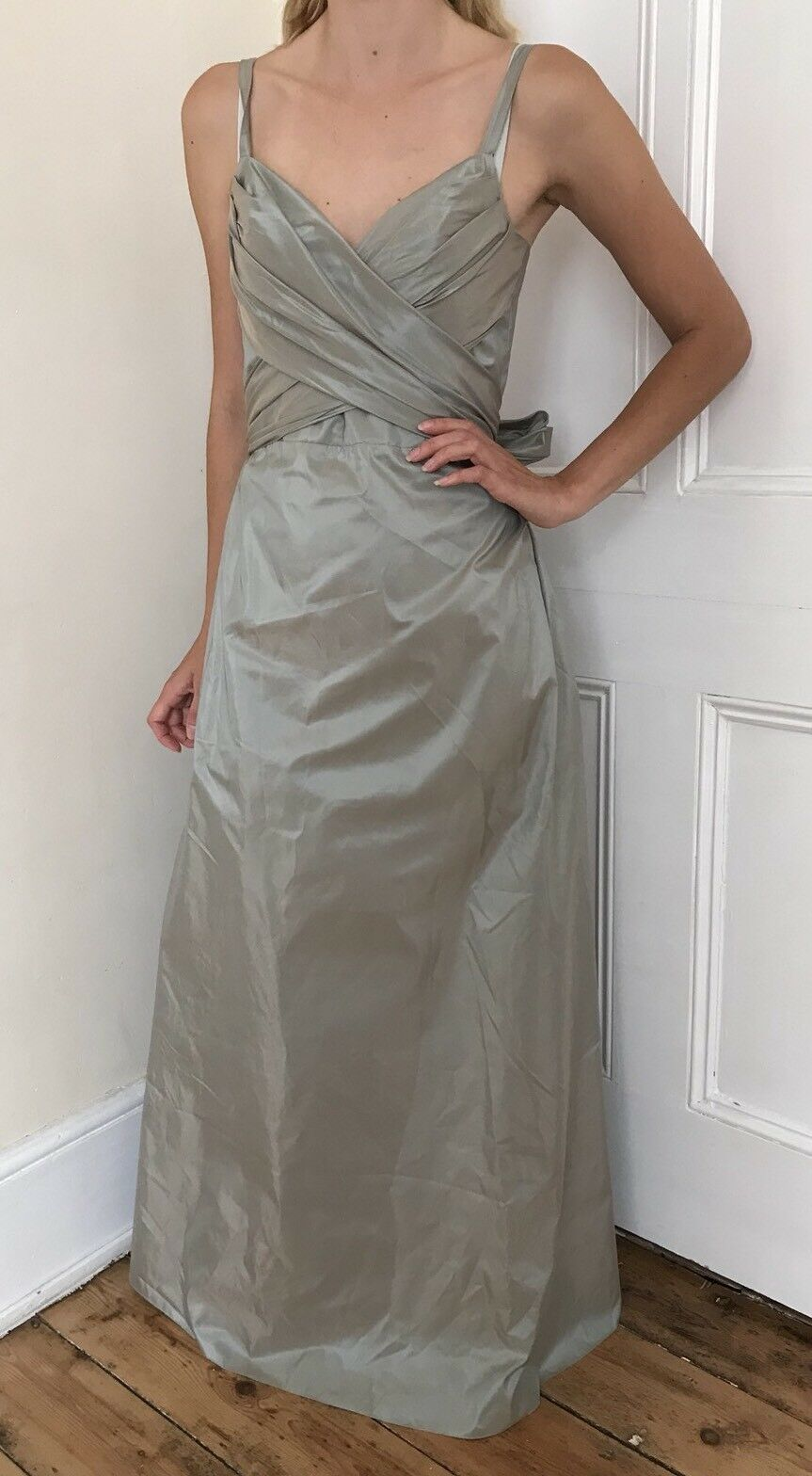 Max Mara 100% Silk Corset Strappy Evening Dress Gown Full Length Maxi