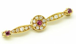 Beautiful-Vintage-18ct-Gold-Ruby-and-Diamond-Brooch