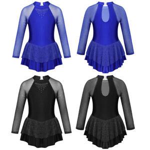 Kid-Girls-Long-Sleeves-Figure-Ice-Skating-Dress-Shiny-Ballet-Dance-Leotard-Dress