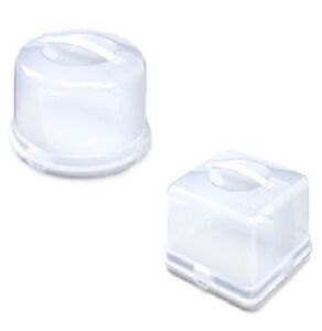 Round Square Shape Cake Box With Lid Plastic Clear Cake Storage