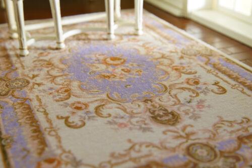 Elegant Floral Swirls Fine French Dollhouse beige 1//12 Rug