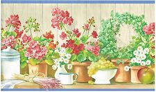 APPLES EGGS AND WHEAT IN POTS ON SHELF BLUE TRIM  Wallpaper bordeR Wall Decor