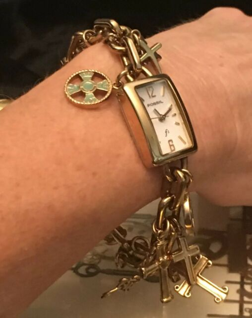 Fossil Es 1139 Gold Stainless Cross Themed Charm Bracelet Watch New Battery