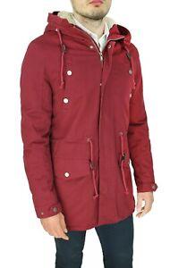 Giaccone-Parka-uomo-casual-rosso-bordeaux-giacca-Invernale-con-pelliccia-interna