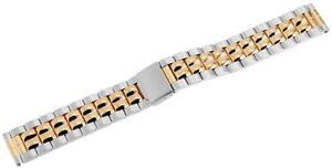 Edelstahl-Gliederband-Uhrenband-Silber-Gold-18-mm-Faltschliesse-X8100007180