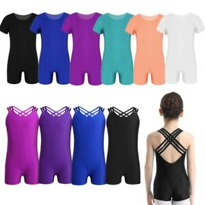 Girls-Gymnastics-Ballet-Dancewear-Child-Workout-Short-Sleeves-Bodysuit-Leotards