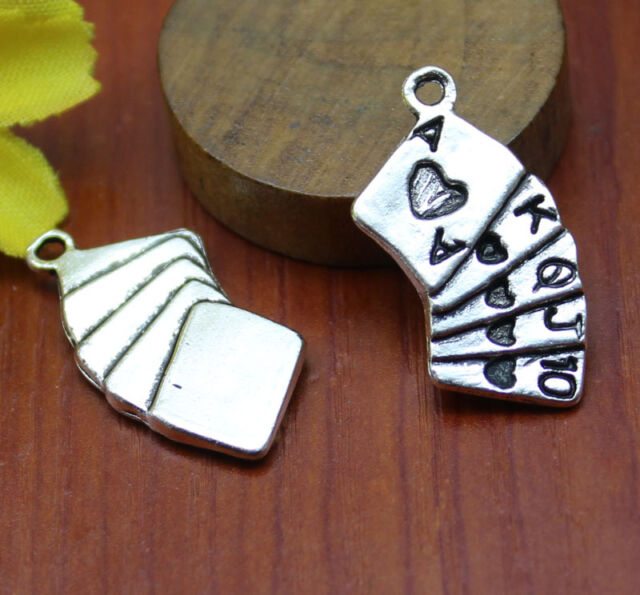 10/30pcs Tibet silver Playing CARDS fashion and personality charm pendant