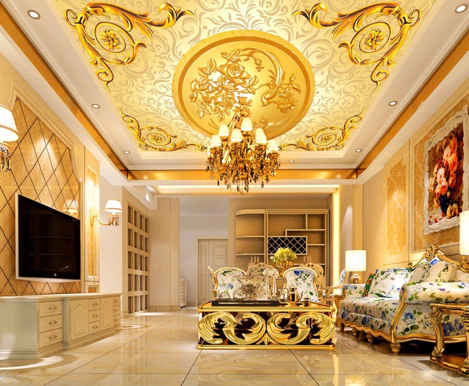3D Gold Squid Ceiling WallPaper Murals Wall Print Decal Deco AJ WALLPAPER AU