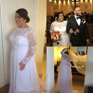 Details About Plus Size Chiffon Boho Wedding Dress Cheap Long Sleeves With Lace And Sequins