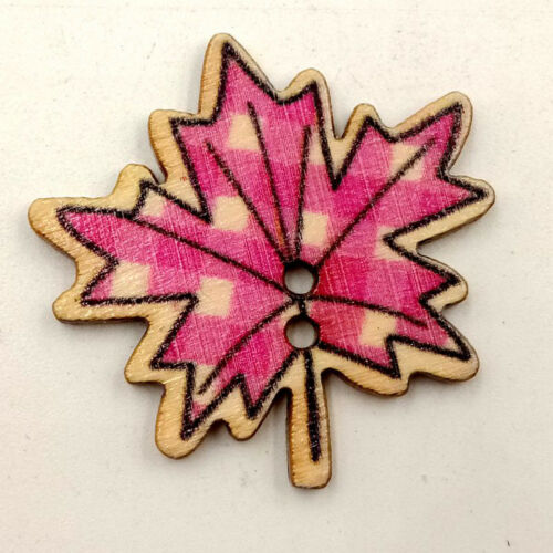 QA/_ 50Pcs Maple Leaves Wooden Buttons DIY Sewing Needlework Scrapbooking Craft