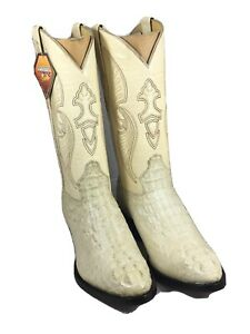 Mens-Bone-Crocodile-Horn-Back-Leather-Western-Cowboy-Boots-Rounded