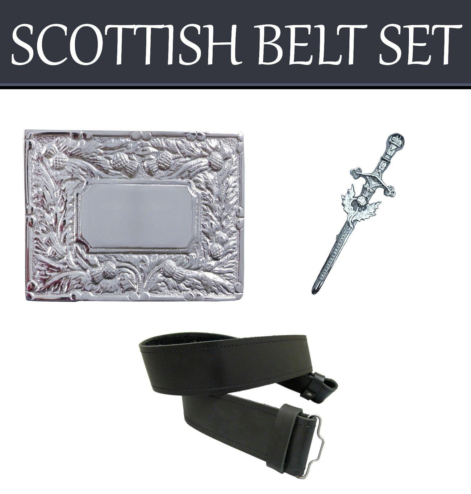 Men's Scottish Black Kilt Belt Set With Belt Buckle & Kilt Pin Made For Kilt