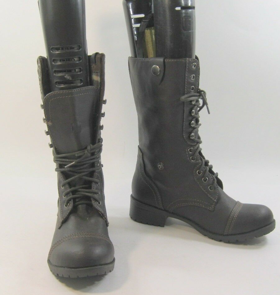 New ladies Brown Lace Up Military Combat Sexy Mid-Calf ankle  Boot Size 5.5