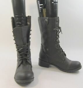 5 sexy Ladies Brown New Combat a Lace Up 5 Stivaletto polpaccio Military medio R7gUcnqgfW