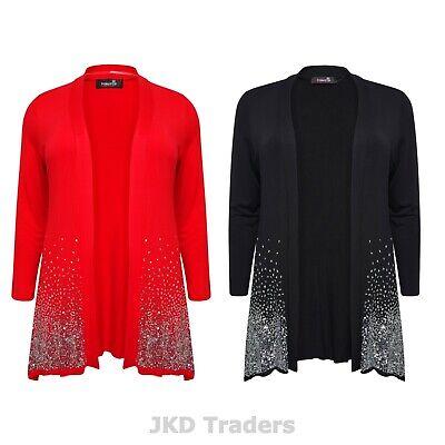 New Ladies Long Sleeve Sequin Glitter Sparkle Women/'s Open Cardigan Plus Size