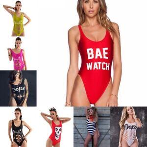 f5bc2dac844e6 Image is loading Women-Swimwear-One-Piece-Letter-Monokini-Bodysuit-Sports-