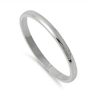 plain 2mm wedding band silver stainless steel ring size 4