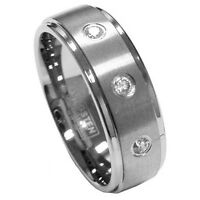 Nice 8mm Men's Tungsten Brushed Cz Anniversary Wedding Ring Band