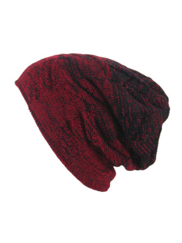 GROJADORI warme Feinstrick Beanie Mütze gemustert mit Teddyfell Unisex