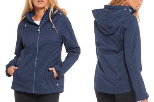 Femme 20 22 24 bleu marine léger imperméable capuche veste 2 Tone Zip manteau Mesdames Lick *