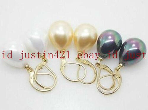 3 Paire 12x16mm blanc jaune noir Shell Perle Larme Gemme Boucles d/'oreilles AAA