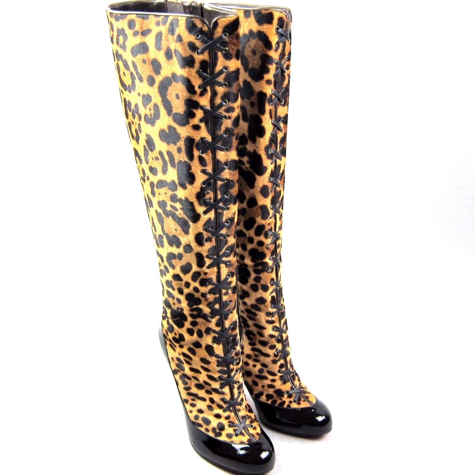 Cómodo y bien parecido Grandes zapatos con descuento kk-cl80450 nuevo christian louboutin Gwendoline Leopardo PONY Botas 100 size 38