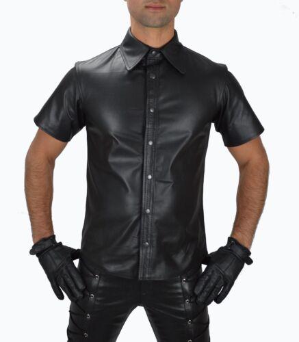 Aw-665 Pelle camicetta in pelle liscia Soft Leather Shirt en cuir Pelle Camicia Taglia M
