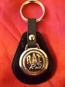 RAT-ROD-RAT-CAR-BIKER-HOT-ROD-RAT-ROD-TOP-QUALITY-LEATHER-amp-METAL-KEYRING