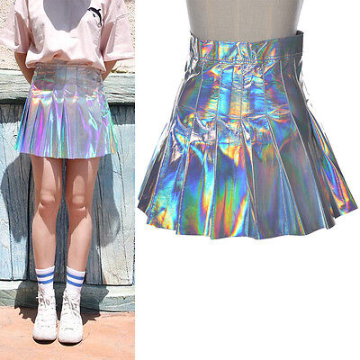 Women Holographic Hologram Metallic Sliver Pleated Skirt High Waist Clubwear