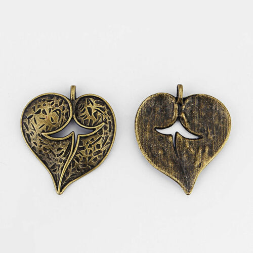 2//5Pcs Antique Bronze Large Heart Charms Pendant Jewelry Necklace Making 51mm