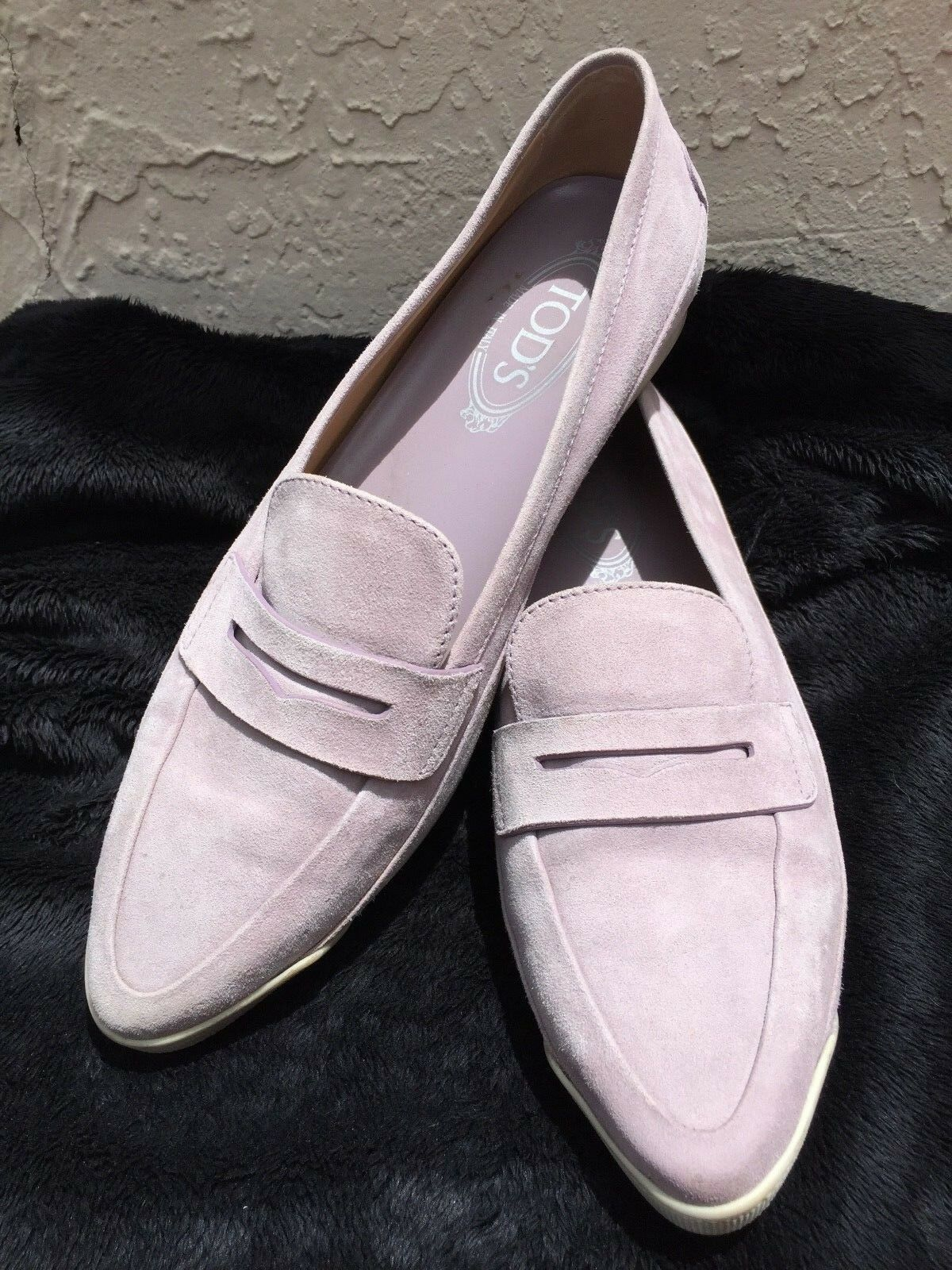 TODS VIOLET SUEDE DRIVING PENNY LOAFERS MOCCASINS SZ 40