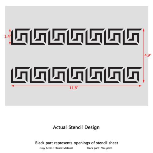 Greek Key Side Border Stencil reusable Template for Crafting Wall DIY decor