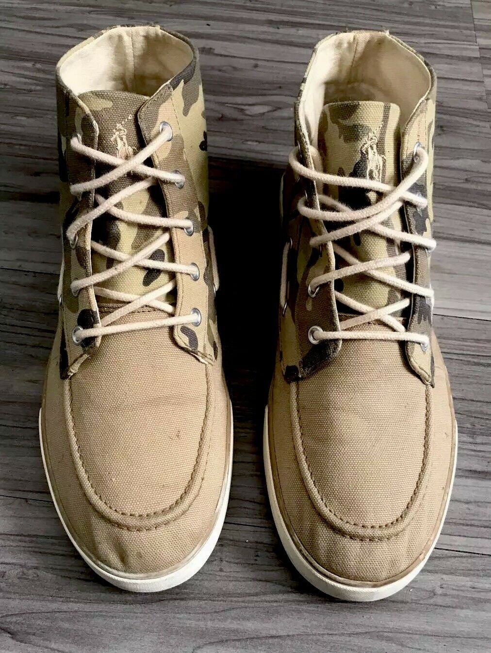 "POLO RALPH LAUREN ""CAMOUFLAGE"" LANDER CHUKKA HIGH CANVAS SNEAKERS MENS SIZE 10.5"