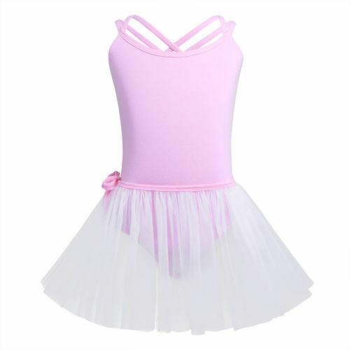 US Girls Kids Straps Ballet Dance Dress Tutu Leotard Gymnastics Skate Costume