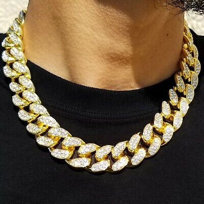 19mm Big Fat Men S Miami Cuban Link Chain Choker Cz Gold